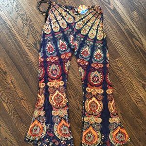 printed bell bottom pants